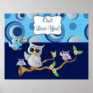Gray & Blue Baby Owl | Nursery Theme Poster