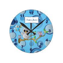 Gray & Blue Baby Owl | Nursery Theme Round Clock