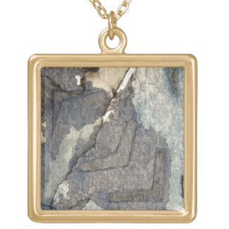 gray-blue background watercolor 2 gold plated necklace