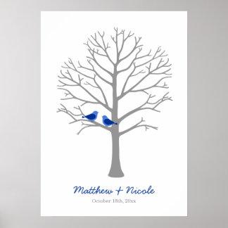 Gray Blue Birds Fingerprint Tree Wedding Poster