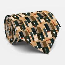 Gray Blue Brown Orange Pattern Neck Tie