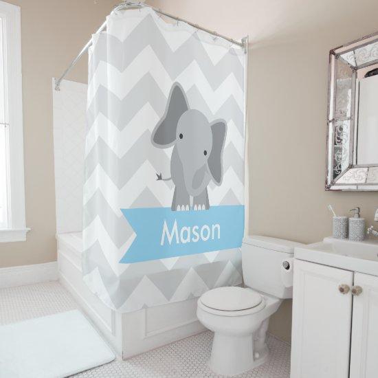 Gray Blue Chevron Elephant Kids Personalized Shower Curtain