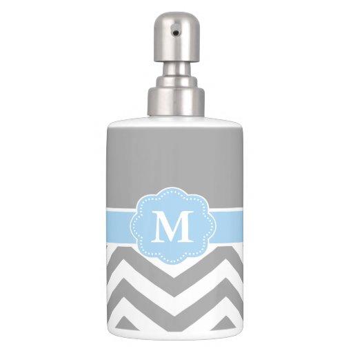 Gray blue chevron monogram bath accessory sets zazzle for Gray bathroom accessories set