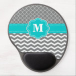 "Gray Blue Chevron Monogram Mousepad<br><div class=""desc"">Show off your personal style in a fun way with this gray and green scroll and chevron monogram mousepad.</div>"