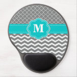 Gray Blue Chevron Monogram Mousepad Gel Mouse Pad