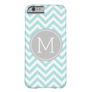 Gray Blue Chevron Pattern Custom Monogram Barely There iPhone 6 Case