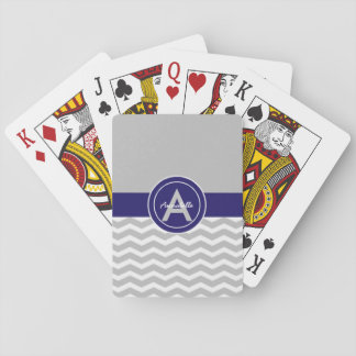 Gray Blue Chevron Playing Cards