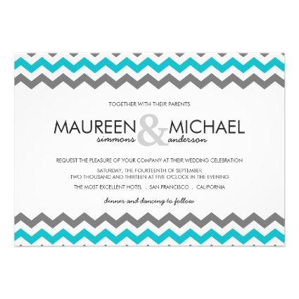 Gray & Blue Chevron Zig Zag Wedding Invitations