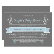 gray blue Couples Baby shower Invitation