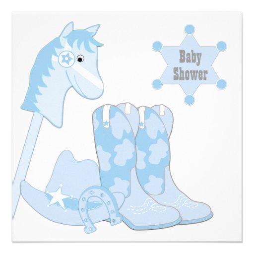 baby blue cowboy baby shower square invitation card zazzle