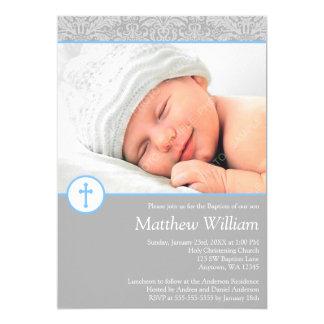 Gray Blue Damask Cross Boy Photo Baptism Card