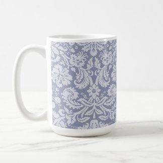 Gray-Blue Damask Classic White Coffee Mug