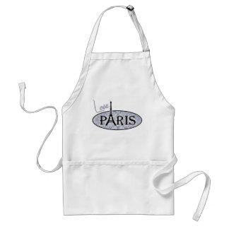 Gray-Blue Damask; Paris Adult Apron