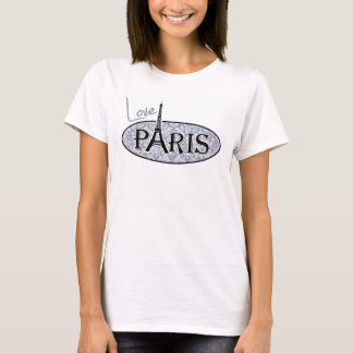 Gray-Blue Damask; Paris T-Shirt