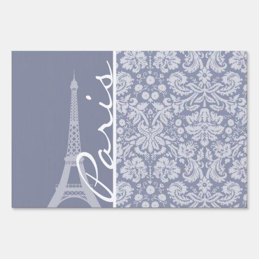 Gray-Blue Damask; Paris Yard Signs