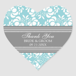 Gray Blue Damask Thank You Wedding Favor Tags Heart Sticker