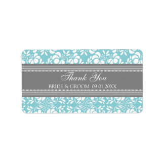 Gray Blue Damask Wedding Labels