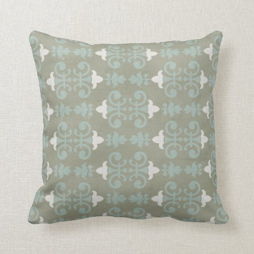 gray blue decorative damask throw pillow zazzle. Black Bedroom Furniture Sets. Home Design Ideas