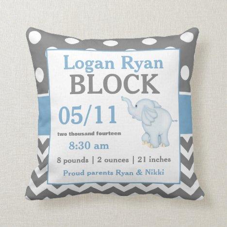 Gray Blue Elephant Baby Announcement Pillow