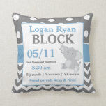 "Gray Blue Elephant Baby Announcement Pillow<br><div class=""desc"">This adorable blue and gray dots and chevron with a cute elephant is a cute and fun way to show off your baby&#39;s birth. Graphics delightful-doodles.com</div>"