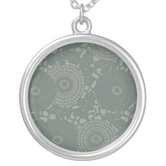 Gray Blue Floral Retro Design Round Pendant Necklace