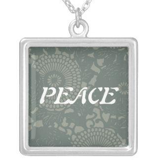 Gray Blue Floral Retro Design Square Pendant Necklace