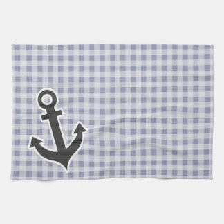 Gray-Blue Gingham; Anchor Towel