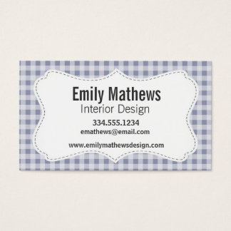 Gray-Blue Gingham; Checkered Business Card