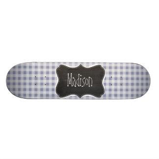 Gray-Blue Gingham; Vintage Chalkboard Skate Board Deck