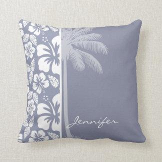 Gray-Blue Hawaiian Tropical Hibiscus; Palm Throw Pillow