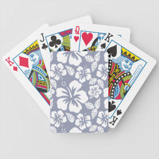 Gray-Blue Hawaiian Tropical Hibiscus Bicycle Playing Cards