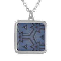 Gray Blue Hip Arrows Geometric Pattern Silver Plated Necklace