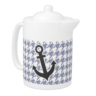 Gray-Blue Houndstooth Teapot