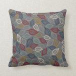 Gray & Blue Leaf Decorative Throw Pillow