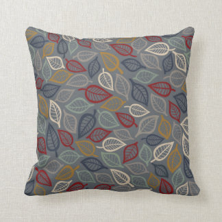 Gray & Blue Leaf Decorative Throw Pillow