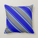 [ Thumbnail: Gray, Blue & Light Sky Blue Colored Stripes Pillow ]