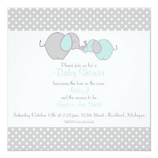 "Gray & Blue Mama & Baby Elephant Shower 5.25"" Square Invitation Card"