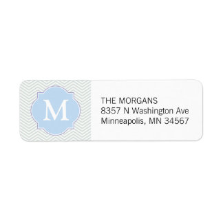 Gray & Blue Modern Chevron Custom Monogram Label