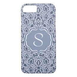 Gray Blue Monogram Moroccan Damask iPhone 8/7 Case