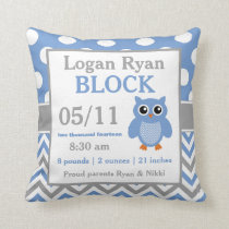Gray Blue Owl Baby Announcement Pillow