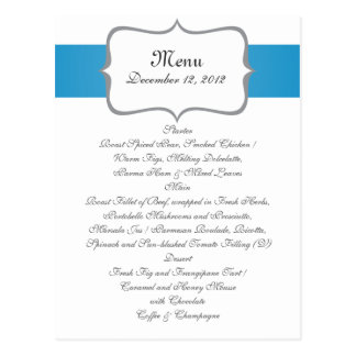 gray&blue paisley pattern on navy wedding menu postcard