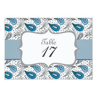 gray&blue paisley pattern with dots table number personalized invite