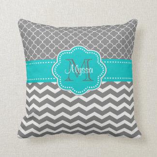 Gray Blue Quatrefoil Chevron Personalized Throw Pillows