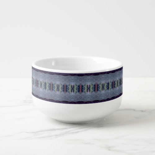 gray blue stripe soup mug