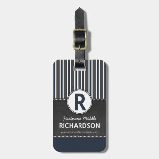 Gray Blue Stripes Chalkboard Monogram Tags For Luggage