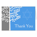 Gray Blue Tree of Life Bar Mitzvah Thank You Card