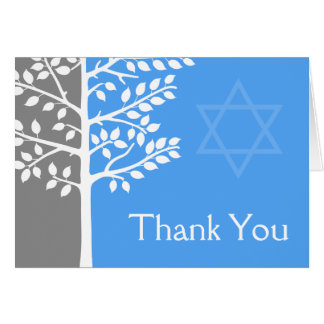 Gray Blue Tree of Life Bar Mitzvah Thank You Card