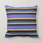 [ Thumbnail: Gray, Blue, Turquoise, Chocolate & Black Pillow ]