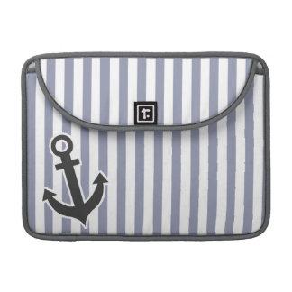 Gray-Blue Vertical Stripes; Anchor MacBook Pro Sleeve