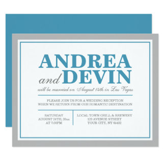 Gray & Blue Wedding Reception ONLY Invitations